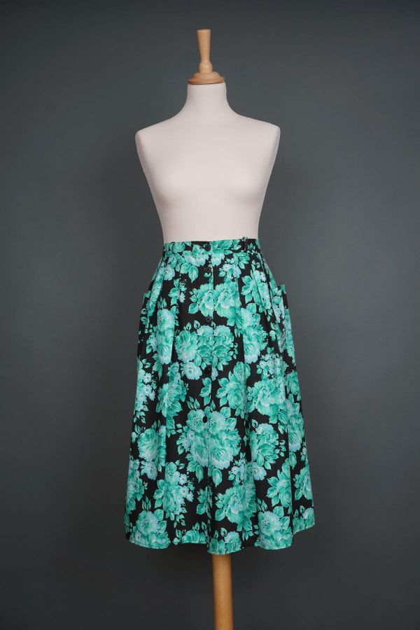 1960s skirt, black with green flowers Price