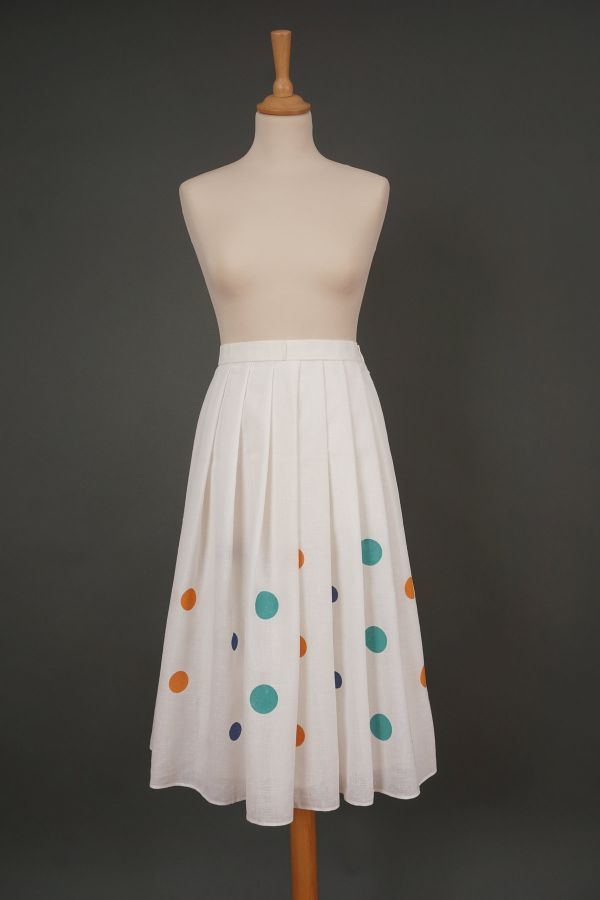 White skirt with big dots Price