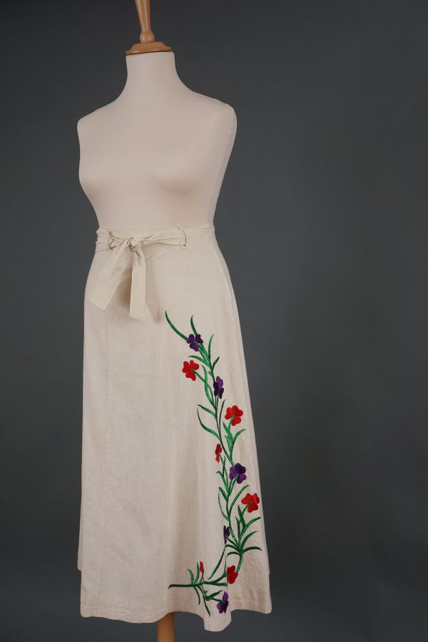 Ethno skirt with embroidered flowers Price
